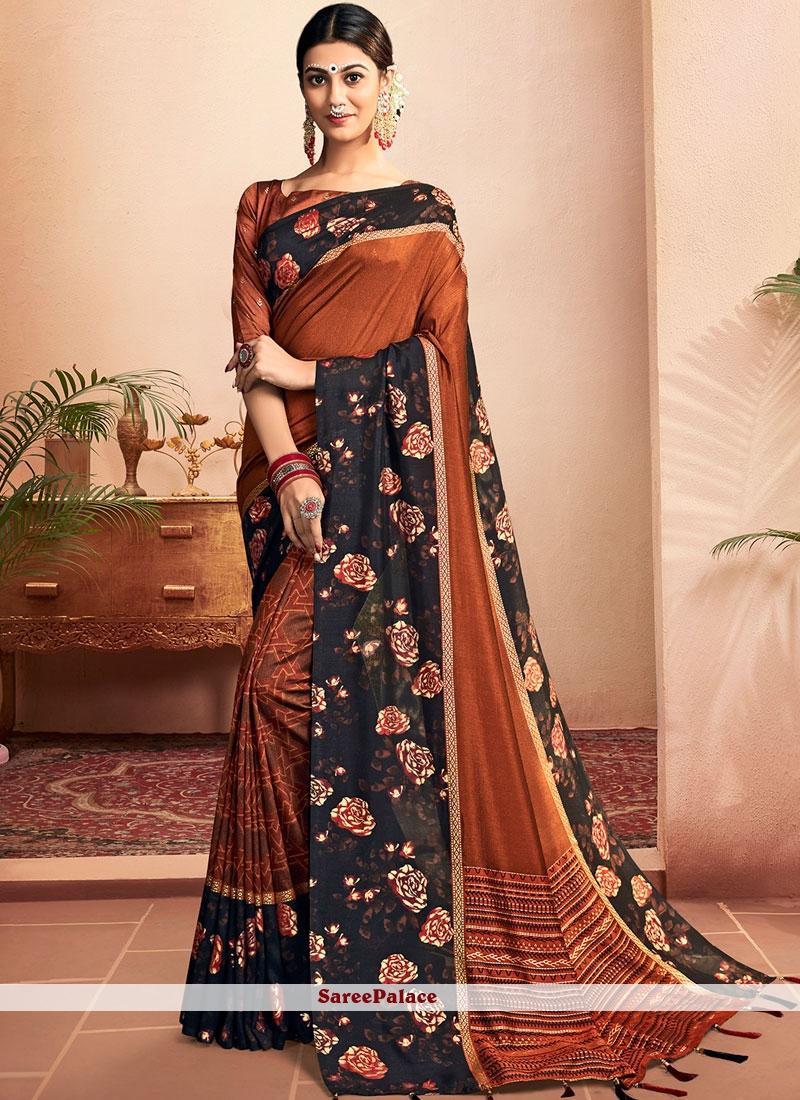 Orange Chanderi Classic Designer Saree