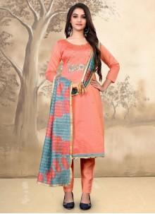 Orange Chanderi Pant Style Suit