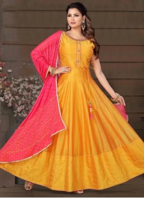 Orange Chanderi Readymade Suit