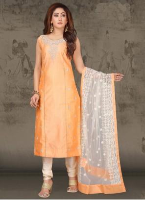 Peach Chanderi Salwar Suit