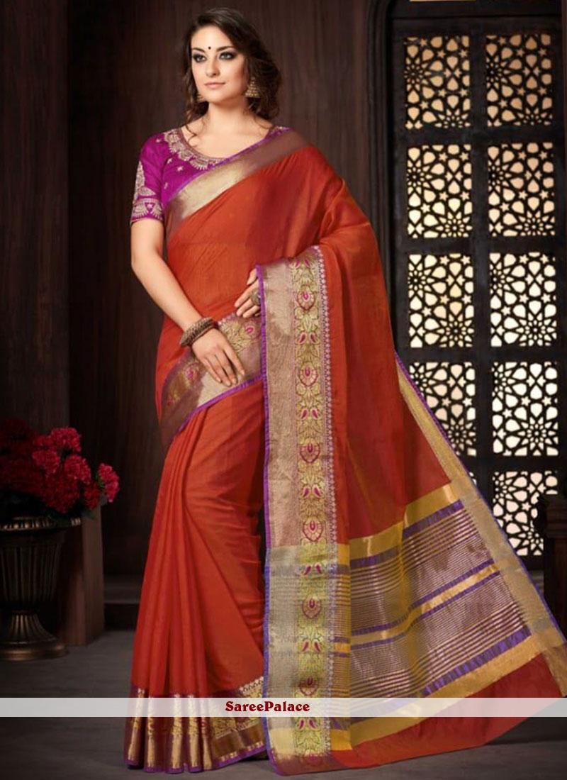 Orange Classic Designer Saree