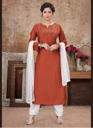 Rust Color Bollywood Salwar Kameez