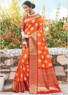 Orange Color Designer Bridal Sarees