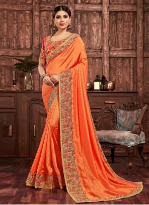 Orange Color Designer Saree