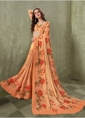 Orange Color Saree