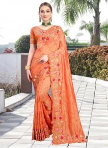 Orange Contemporary Saree