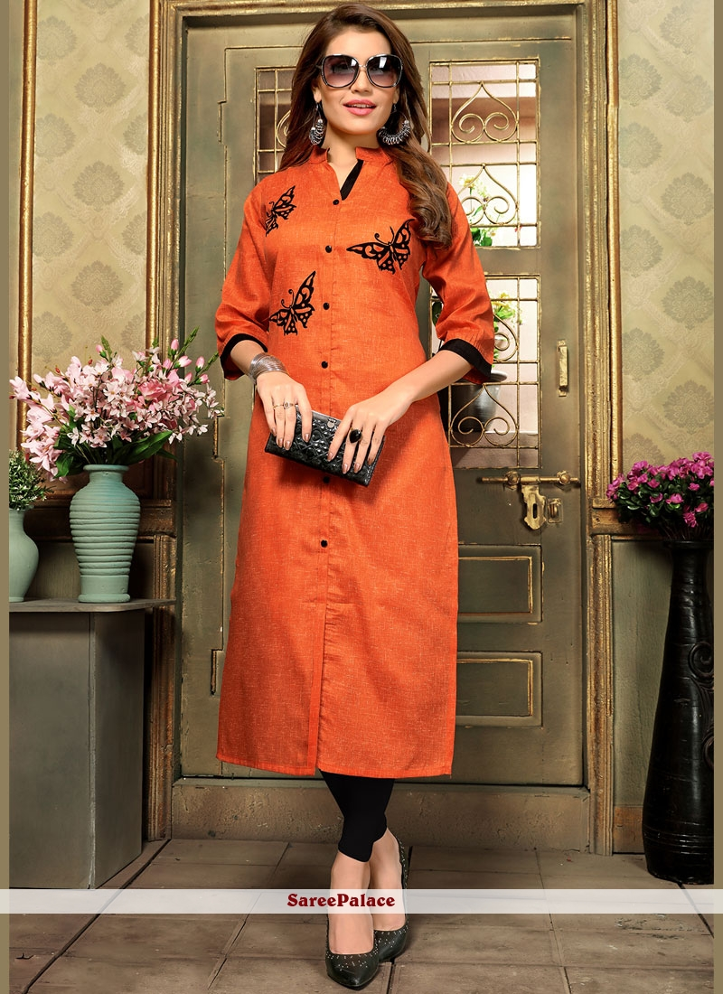 Orange Cotton   Casual Kurti