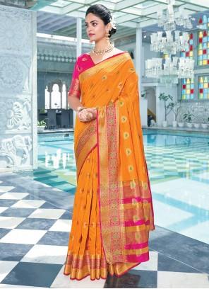 Orange Cotton Ceremonial Traditional Saree