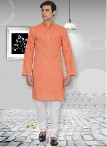 Orange Cotton Party Kurta Pyjama