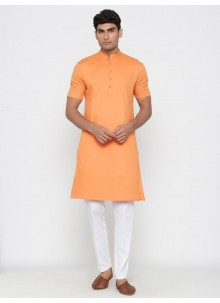 Orange Cotton Plain Kurta Pyjama