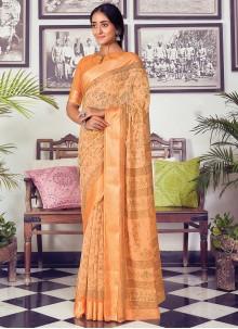 Orange Cotton Printed Traditional Saree