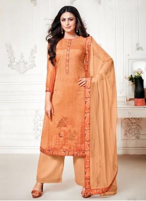 Orange Cotton Silk Festival Palazzo Designer Salwar Suit
