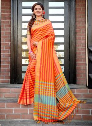 Orange Cotton Silk Traditional Saree