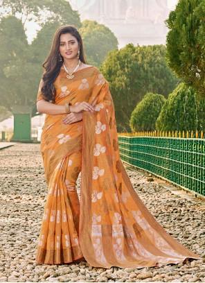 Orange Cotton Trendy Saree