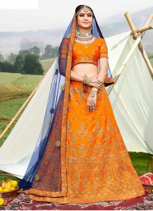 Orange Diamond Designer Lehenga Choli