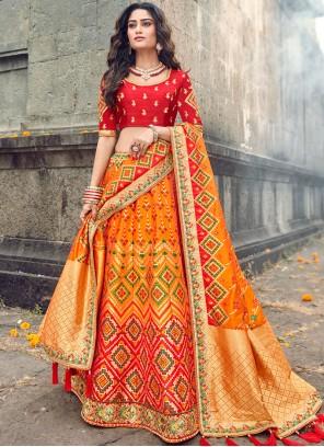 Orange Embroidered Art Silk Designer Lehenga Choli