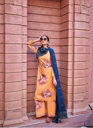 Orange Embroidered Art Silk Designer Palazzo Salwar Suit