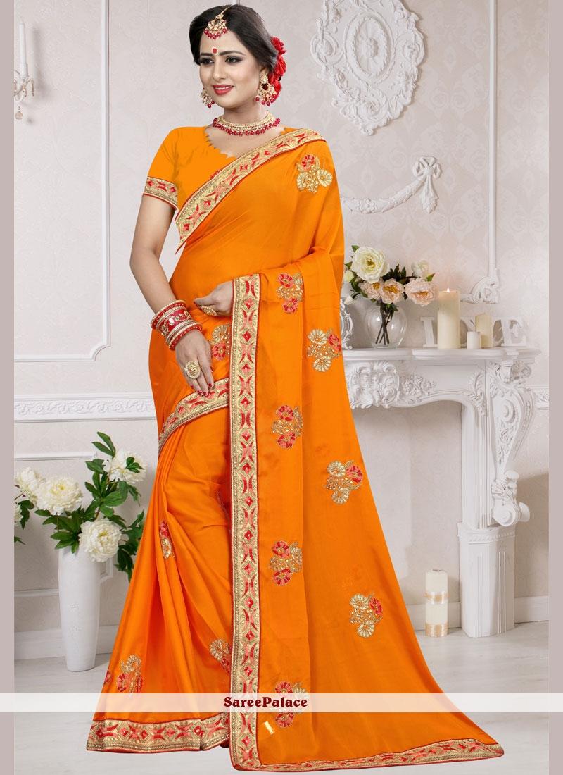 Orange Embroidered Art Silk Designer Traditional Saree