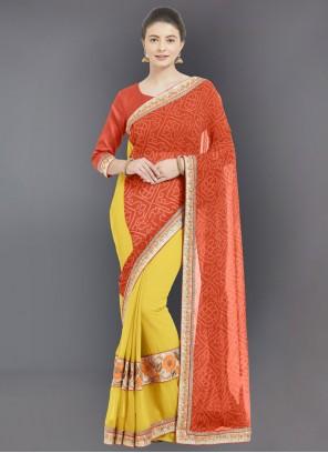Orange Embroidered Casual Half N Half  Saree