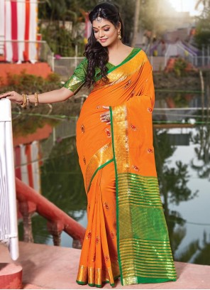 Orange Embroidered Casual Saree