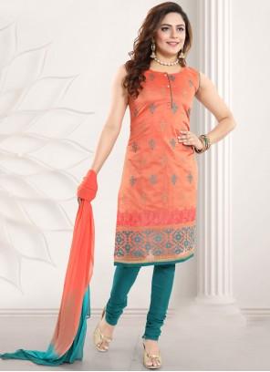 Orange Embroidered Chanderi A Line Lehenga Choli