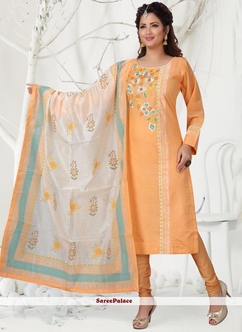 Peach Embroidered Chanderi Churidar Designer Suit