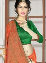 Orange Embroidered Classic Saree