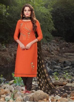 Orange Embroidered Designer Salwar Suit