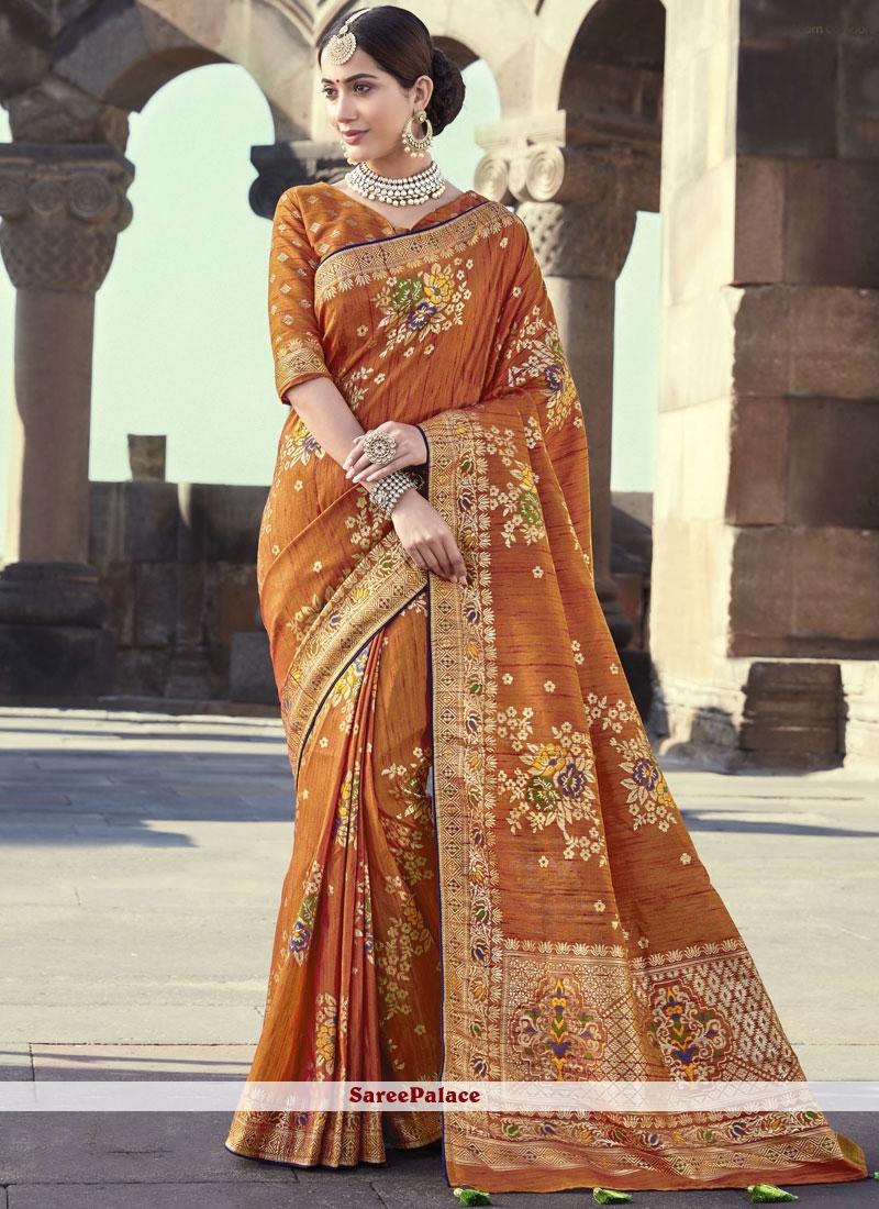 Orange Embroidered Designer Traditional Saree