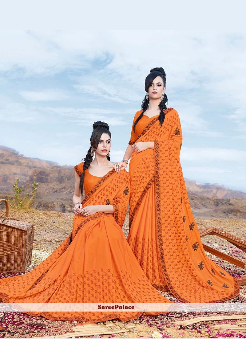 Orange Embroidered Faux Georgette Classic Designer Saree
