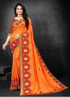 Orange Embroidered Festival Designer Traditional Saree