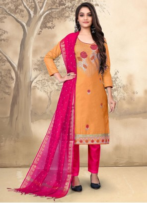 Orange Embroidered Festival Pant Style Suit