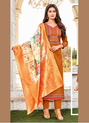 Orange Embroidered Festival Straight Salwar Suit