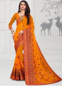 Orange Embroidered Georgette Designer Saree