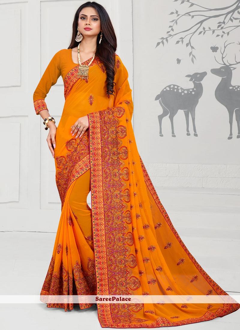 Orange Embroidered Georgette Designer Saree