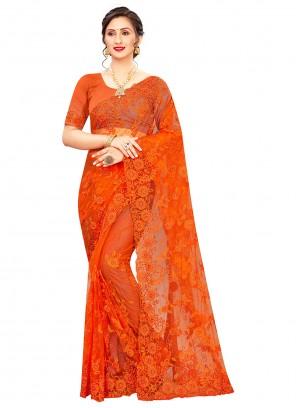 Orange Embroidered Net Classic Saree