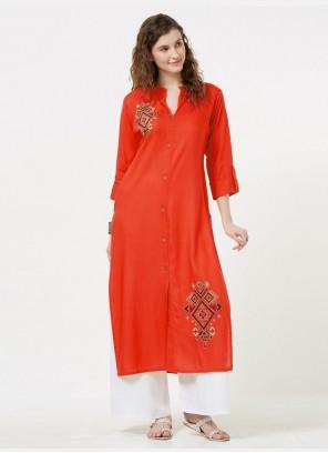 Orange Embroidered Rayon Casual Kurti