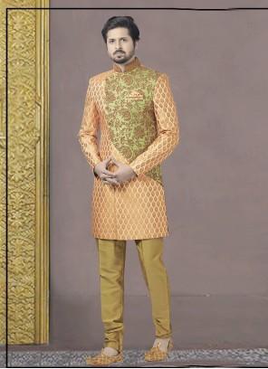Orange Embroidered Sangeet Indo Western