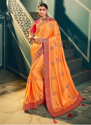 Orange Embroidered Trendy Saree