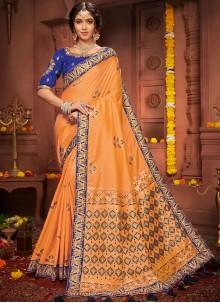 Orange Embroidered Wedding Designer Saree