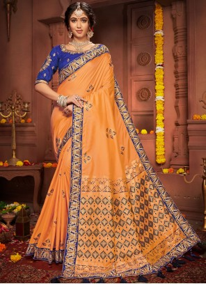 Orange Embroidered Wedding Designer Saree