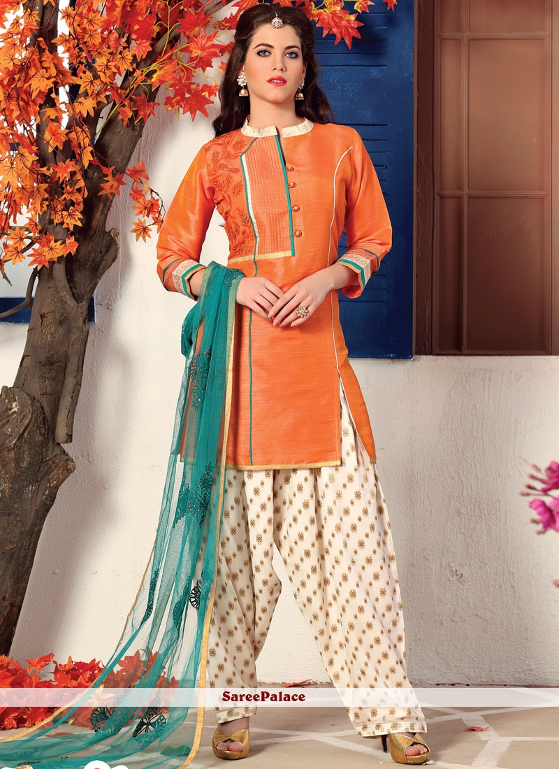 Orange Embroidered Work Readymade Suit