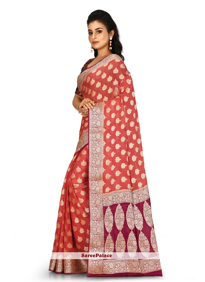 Orange Engagement Banarasi Silk Contemporary Saree