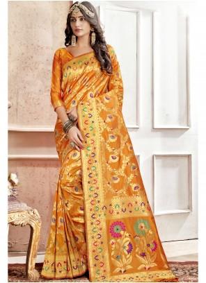 Orange Engagement Saree