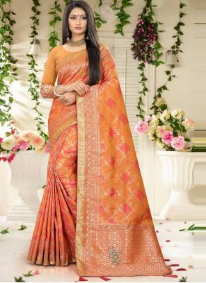 Orange Fancy Banarasi Silk Designer Traditional Saree