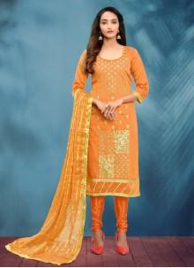 Orange Fancy Cotton Silk Churidar Designer Suit
