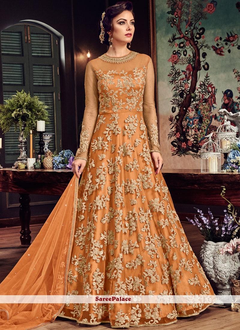 Orange Fancy Fabric Embroidered Floor Length Anarkali Suit