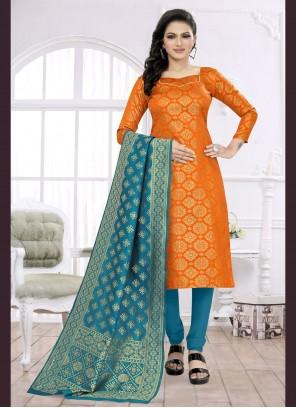 Orange Fancy Fabric Festival Churidar Suit