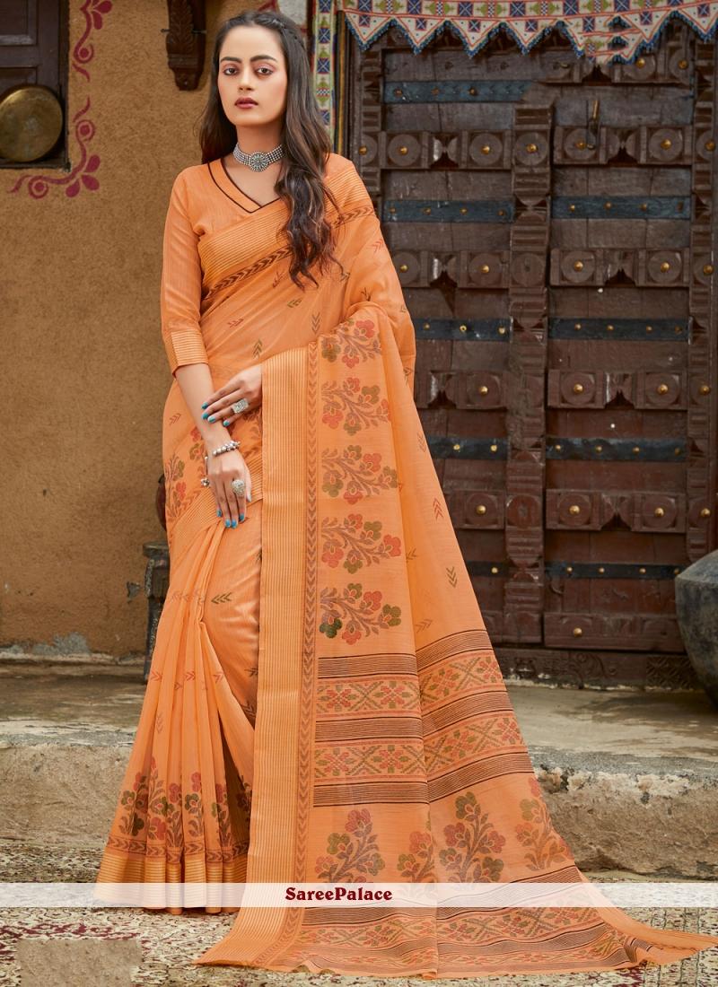 Orange Fancy Festival Classic Designer Saree