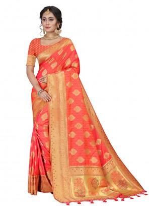 Orange Fancy Silk Traditional Designer Saree
